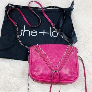 She + Lo Berry Breakthrough Studded Crossbody Bag